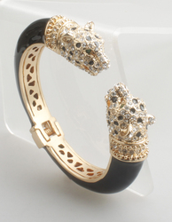 GrayBirds High Quality Crystal Enamel Epoxy Animal Bangles Panther Leopard Bracelets Cuff For Women Jewelry GB1188