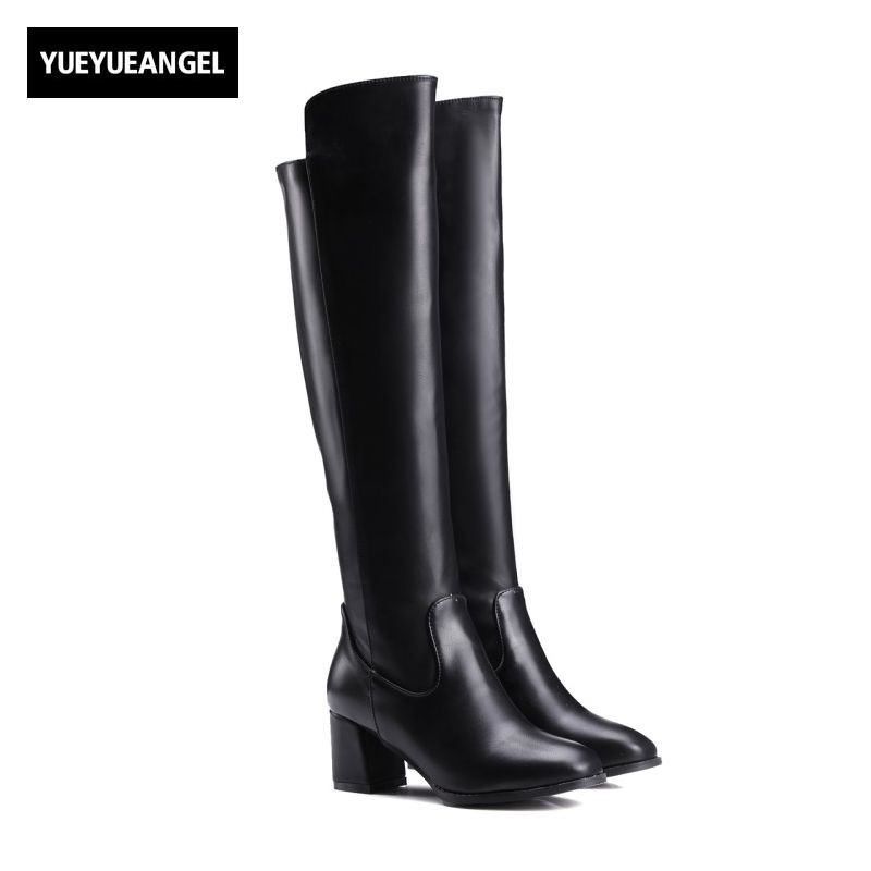 2017 Pu Leather Women Boots Over Knee Round Toe Side Zip High Heel Winter New Fashion Female Shoes European Sweet Plus Size nayiduyun new fashion thigh high boots women genuine leather round toe knee high boots high heel party pumps casual shoes