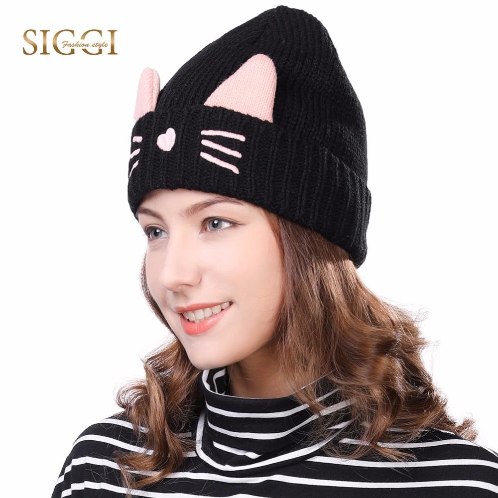 FANCET 여성 니트 비니 고양이 귀마개 겨울 모자 소녀의 보컬 보닛 Gorros 귀여운 양모 두꺼운 양털 Czapa Zimowa 88236