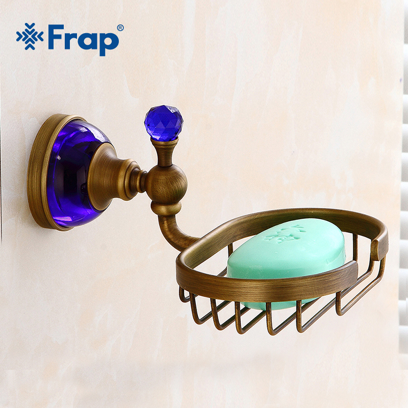 Frap Soap Dishes Brass Soap Basket Wall Mounted Blue Crystal Soap Holder Bathroom Accessories Home Decoration Soap Box Y18013 frap chrome wall mounted bathroom accessories glass soap dishes soap holder soap case box home decoration sabonete f1602