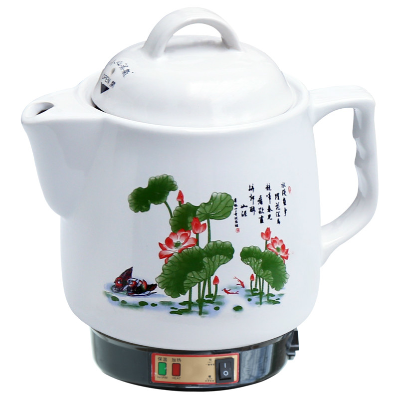 Electric kettle Automatic Chinese medicine pot boiling ceramic health electric cooker cookin electric stew pot white porcelain slow cooker ceramic soup porridge rice pot automatic power off when lack water cute design