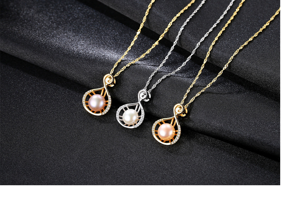 S925 sterling silver necklace natural freshwater pearl pendant fashion women s accessories LBM27