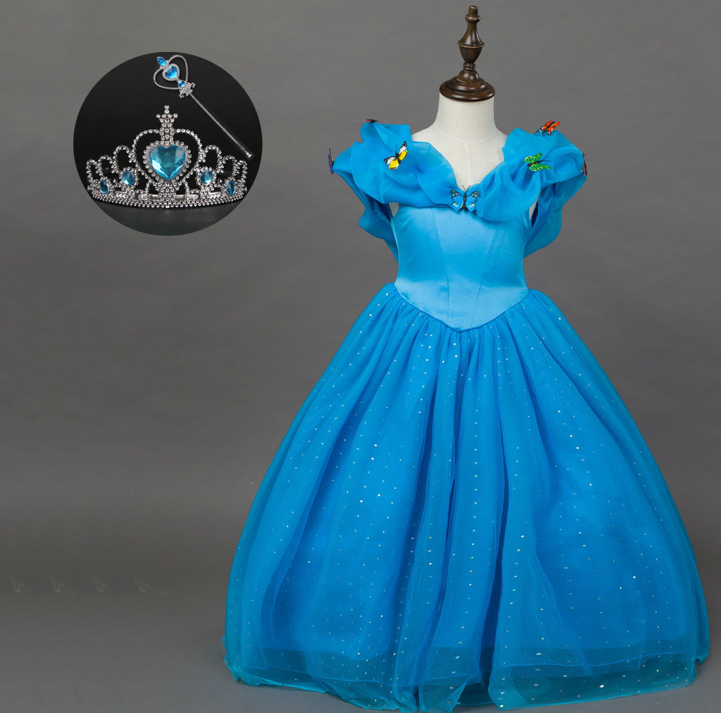 Halloween Costume Child Birthday Christmas Clothing Kids Blue Party Princess Cinderella Dress Costume with Accessory