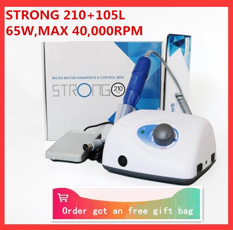 2021 Новое поступление STRONG 210 105L 102L наконечник 65 Вт 40000 об/мин/50000 об/мин фрезы для ногтей машинка для маникюра и педикюра электрические пилки