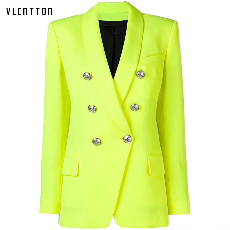 High Quality 2019 Designer Yellow Women's Jacket Blazer Coat Double Breasted Metal Buttons Long Sleeve Office Blazers Outerwear