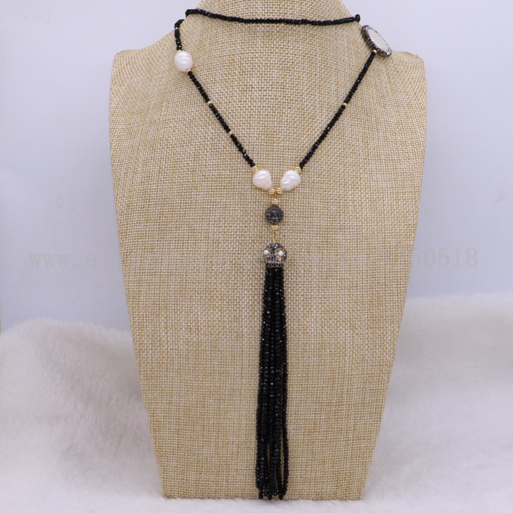 3 pcs black beas necklace with pearl necklace gems for women Stitching necklace Elegant jewelry for