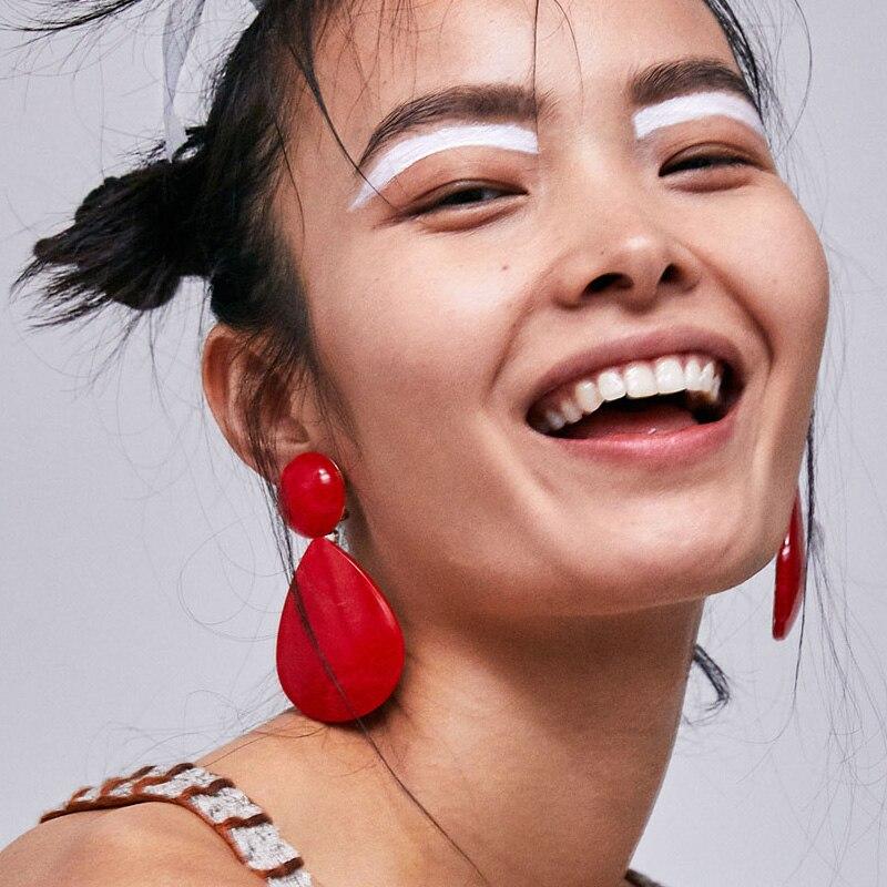 Dvacaman Hot Fashion ZA Water Drop Earrings Jewelry 2018 Women Resin Statement Pendant Dangle Earrings Wedding Jewelry Wholesale