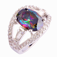 JROSE Classic Wedding Cocktail Party Oval Cut Rainbow & White Topaz Silver Ring Size 7 Free Shipping Onlylove Jewelry Gift