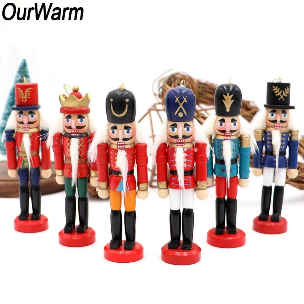OurWarm 6 pcs Nutcracker De Madeira Boneca Soldado Estatuetas Em Miniatura Artesanato Boneco de Natal de Ano Novo Enfeites de Decoração Para Casa Do Vintage