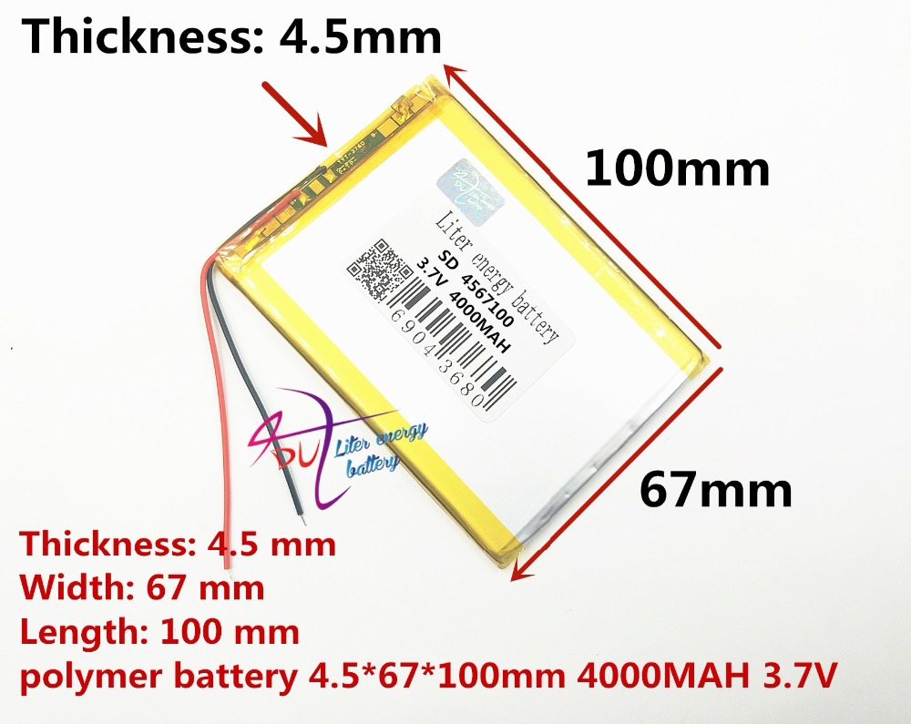 Free shipping Tablet PC battery PL4567100 3.7V 4000mah Lithium polymer Battery with Protection Board For PDA Rechargeable batter protective pc case with 5400mah rechargeable lithium battery