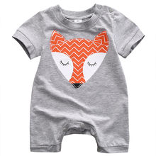 Cute Fox Printed Short Sleeve Newborn Baby Boy Rompers Kids Jumpsuit Harem Short Pants Clothing(China)