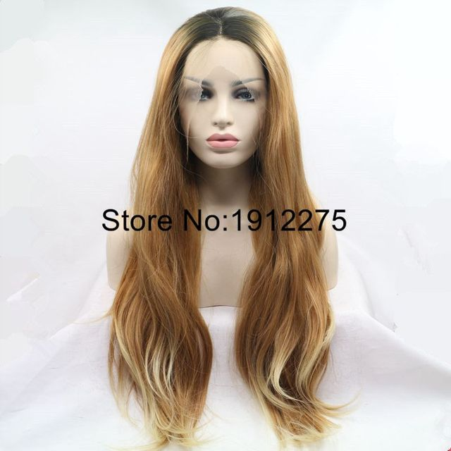 Thick Hair Long Natural Straight Brown Ombre Blonde Synthetic Lace
