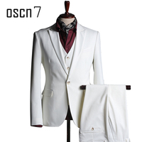 OSCN7 White 3 Pcs Suit Men Slim Fit 2017 Brand Wedding Suits For Men Event Party
