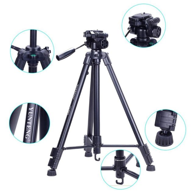 YUNTENG VCT 590 Portable Video Camera Tripod With Damping Head For DSLR Bag