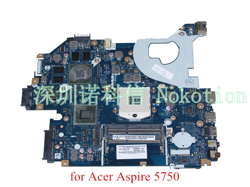 NOKOTION Laptop Motherboard MBRG502001 P5WE0 LA-6901P for acer aspire 5750 5750G 5755G HM65 DDR3 Mainboard gt540m for lenovo laptop motherboard g570 piwg2 la 6753p hm65 ddr3 pga989 mainboard