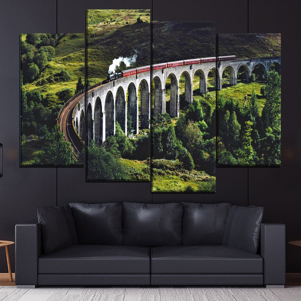 Natural Green Landscape And Steam Train Painting 1 Piece Style Picture On Canvas Print Type Home Decorative Wall Artwork Poster in Painting Calligraphy from Home Garden