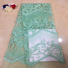 цена на Hot Selling African Lace Fabric Good Quality Nigerian Lace Fabric With Sequins French Lace Fabric HX1075-2