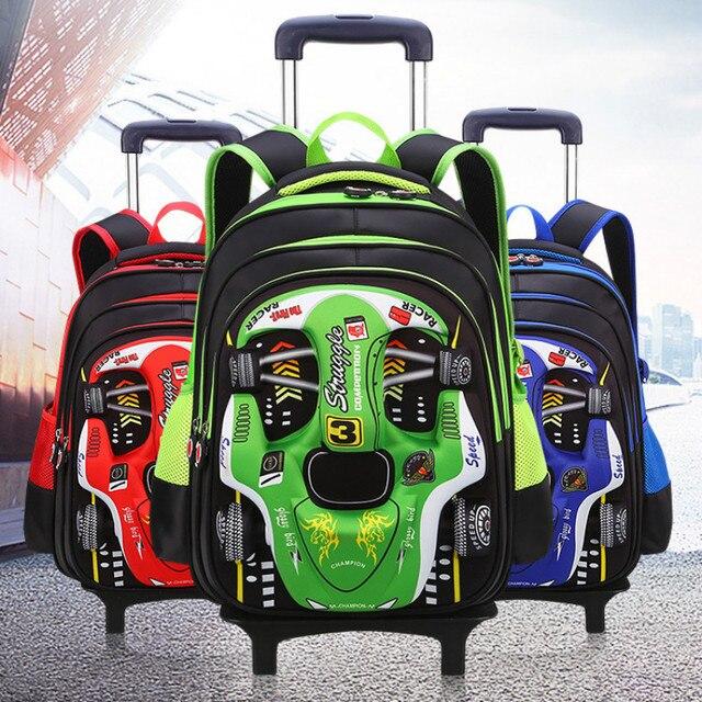 children school bags with wheels Travel Trolley school backpack for boys Kids 3D car cartoon school Backpacks Mochila Infantil