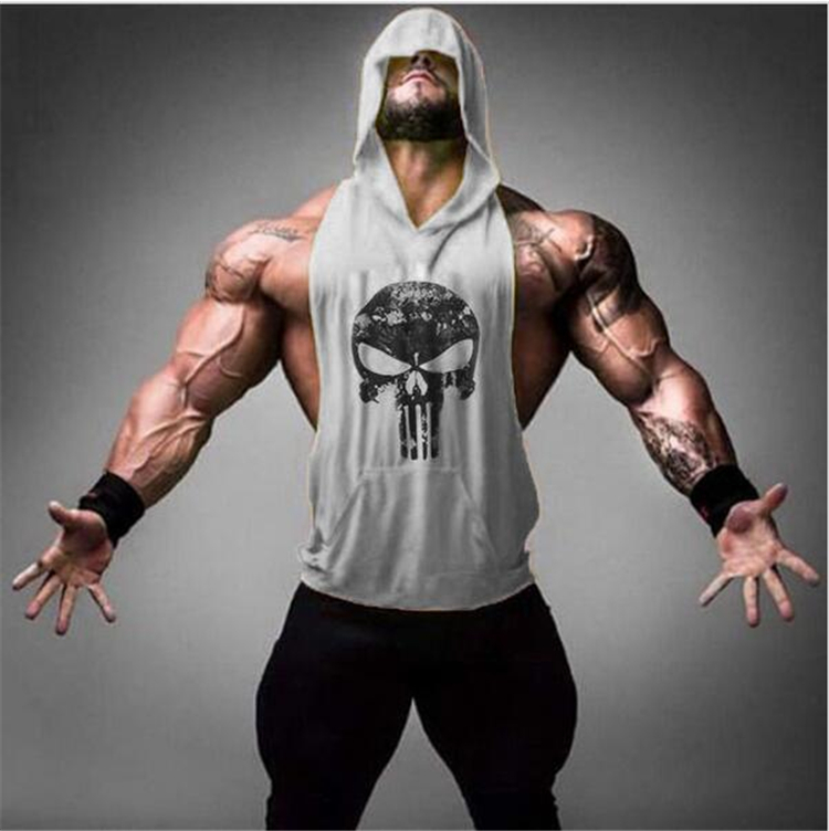 Bodybuilding stringers sleeveless hoodie gyms   tank     tops   for men singlets shirt cotton fitness skulls sporting clothing