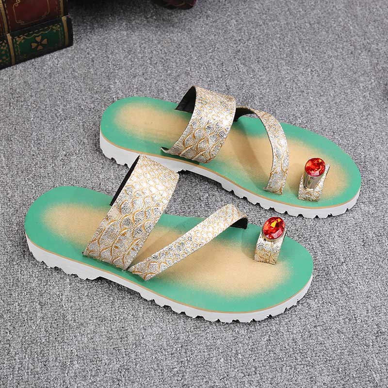 Batzuzhi Luxe Gloednieuwe Schoenen Fashion Leather Slippers Flip Flops Open Teen met Grote Crystal Flats Strand Sandaal Schoenen mannen - 2