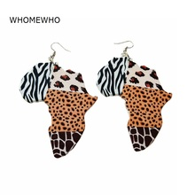 Wood Africa Map Typical African Traditional Costumes Zebra Giraffe Animal Printing Earrings Vintage Wooden Party Club Jewelry
