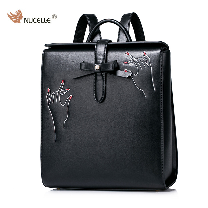 NUCELLE Brand New Design Creative Embroidery Bow Women's's Fashion PU Leather Lady Backpacks School Shoulders Hand Bag Girls