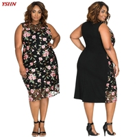2017 New Large Size Fat Women Dress Sexy Embroidered Print Loose Sleeveless Mother's Dresses XL-4X