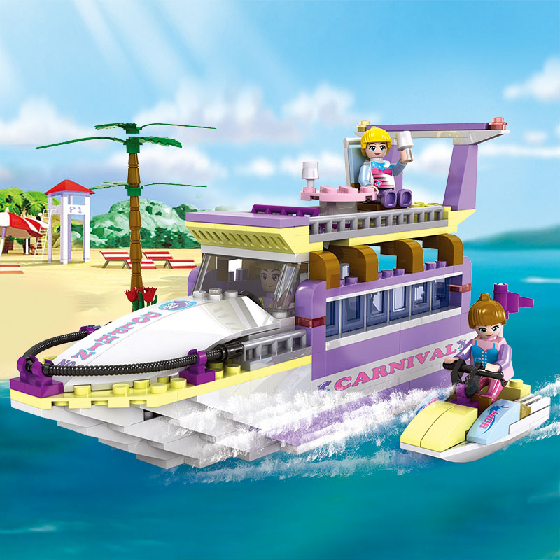 COGO Girls Educational Building Blocks Toys For Children Kids Gifts Boat Ship Moto Tree Yacht Compatible With Legoe cogo girls educational building blocks toys for children kids gifts boat ship moto tree yacht compatible with legoe