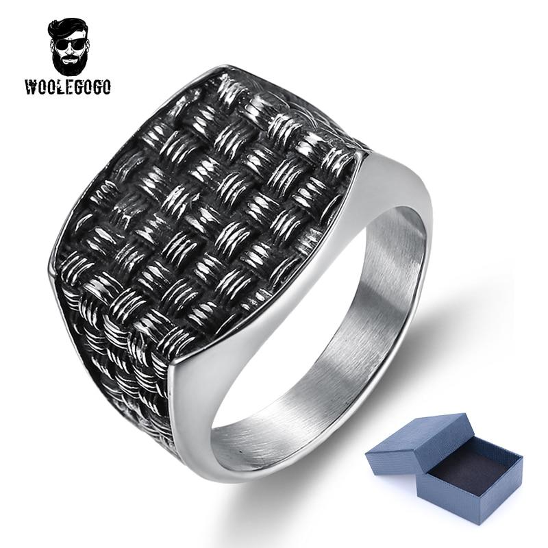 WooLeGoGo Punk Rock Square Weave Biker Rings for Man Vintage 316L Stainless Steel Men Jewelry Gothic Black Silver Mens Rings цена