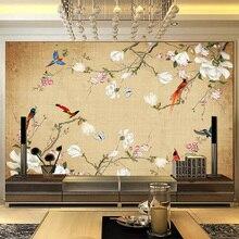 На заказ любой размер Настенные обои 3D Стерео цветы птицы китайский стиль ручная роспись фото настенная живопись Гостиная ТВ Диван Декор