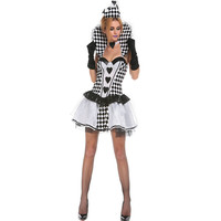 Halloween Black And White Poker Queen Dress The Circus Clown Role Playing Disfraces Sexy Cosplay Princess