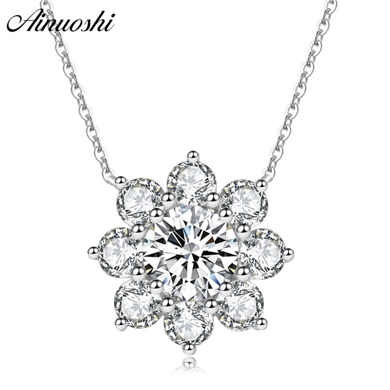 AINUOSHI Luxury 925 Sterling Silver Pendant Necklace for Women Flower Long Chain Necklace Wedding Silver Jewelry