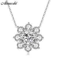 AINUOSHI Luxury 925 Sterling Silver Pendant Necklace for Women Flower Long Chain Necklace Wedding Silver Jewelry collar de plata
