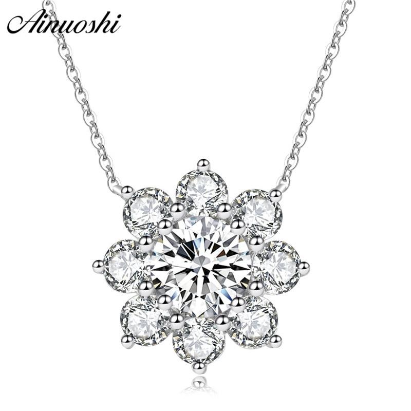 AINUOSHI collier pendentif en argent Sterling 925 de luxe pour femmes collier à longue chaîne de fleurs collier de bijoux en argent de mariage collier de plata