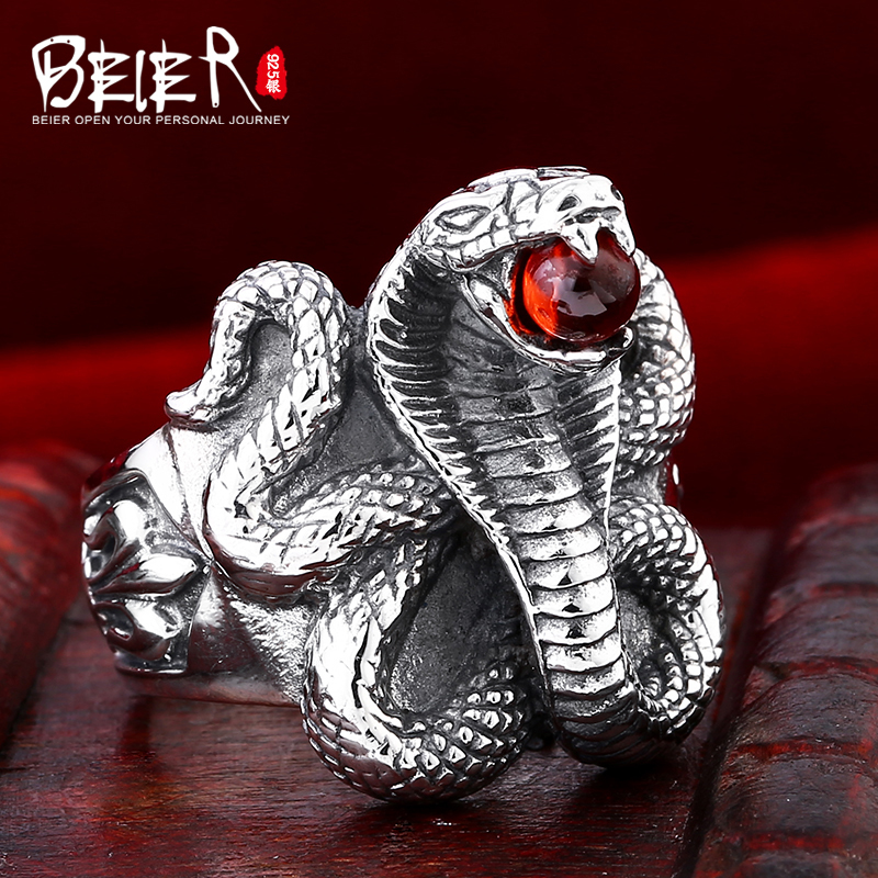 Beier 925 silver sterling jewelry2015 punk animal ring snake with a gem man ring BR925D0663 beier 925 silver sterling jewelry 2015 men s retro domineering ring animal ring super big dragon man ring d1234