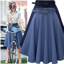 2017 Autumn Winter Fashion Women Skirt Vintage Retro High Waist Pleated Midi Skirt Denim Flared Belt Skirt Saia Femininas SK098