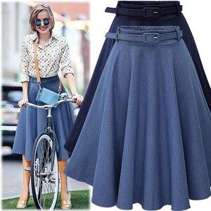 Image 3 - 2019 Autumn Winter Fashion Women Skirt Vintage Retro High Waist Pleated Midi Skirt Denim Flared Belt Skirt Saia Femininas SK098