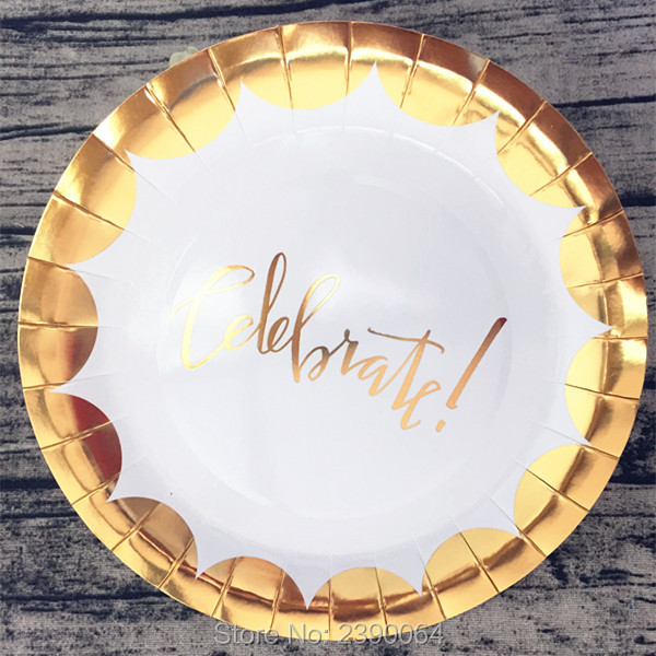 Scallop Gold Foil Celebrate Paper Plates 40pcs Metallic Gold Edge Paper Plates for School Party House Moving Halloween Christmas