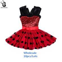 Comercio al por mayor 10 Unids Niñas Vestidos Milagrosa Ladybug Rojo Flash Vestido De Niña Trajes de Cosplay Marinette Bobo Choses Vestido de Los Niños(China (Mainland))