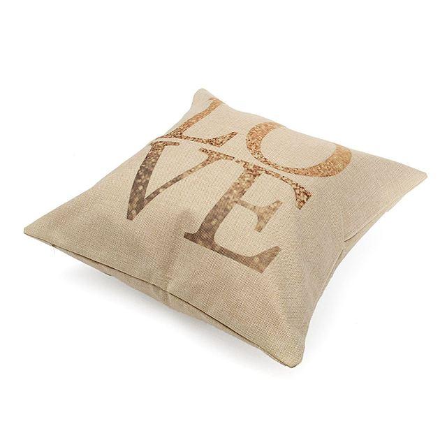 Cotton Linen LOVE Heart Pillow Case 45X45cm Retro Vintage Soft Throw Cushion Waist  Cover Sweet Heart Home Coffee Shop DIY