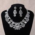 Conjuntos de jóias novo presente de casamento romântico lindo cristal nupcial colar brincos conjuntos liga acessório nupcial