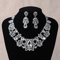 Romantic Jewelry Sets New Wedding gift Gorgeous Crystal Bridal necklace earrings Sets Alloy bridal Accessory