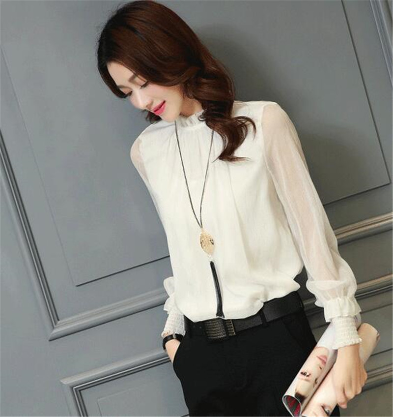 460346cefc91 Chiffon Blouse 2019 New Women Tops Long Sleeve Stand Neck Work Wear Shirts  Elegant Lady Blouses Casual Solid Color Blusas 32746-in Blouses & Shirts  from ...