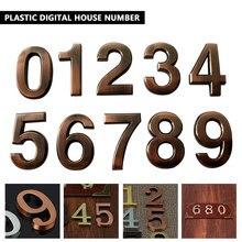 1 шт. ABS пластик бронза самоклеющиеся 0-9 дверные номера индивидуальные дом Адрес знак