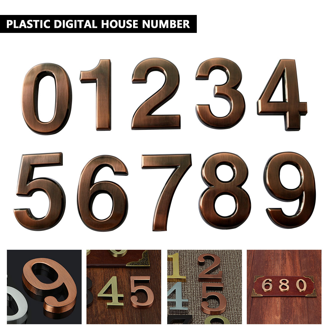1pcs ABS Plastic Bronze Self- Adhesive 0-9 Door Numbers Customized House Address Sign