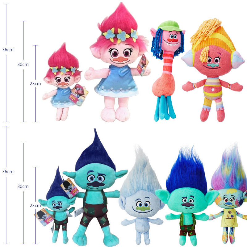 6 Styles Trolls Doll 23cm to 36cm Poppy Branch Harper Diamond Cooper Movie Anime Figure Plush