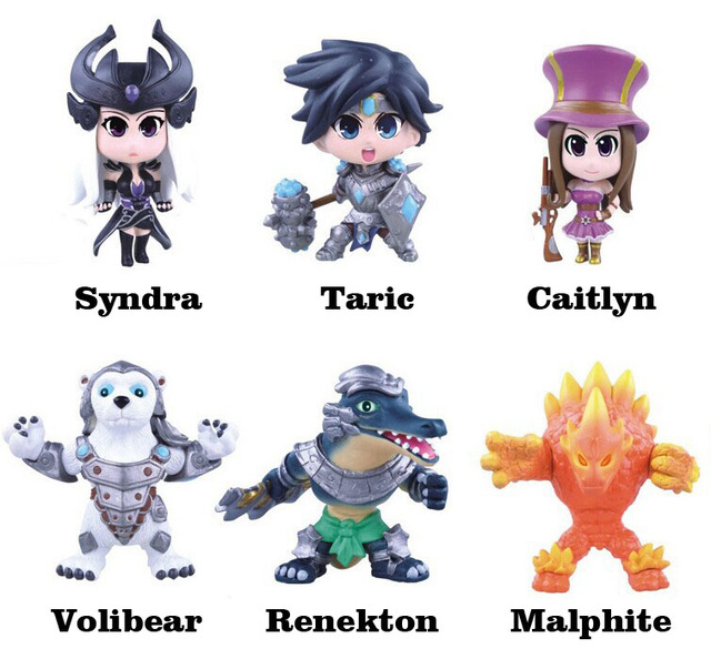 Free Shipping Cute 6pcs Anime Game Volibear Malphite Renekton Caitlyn Syndra Taric 4th Boxed 12cm PVC