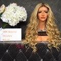 Nueva Moda 1BT27 Ombre Peluca Llena Del Cordón Del Pelo Humano Rubio 2 tono Ombre Peluca Del Frente Del Cordón Peruano Ondulado Pelucas Rubias Ombre Humano pelo