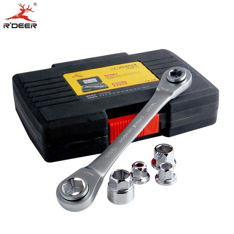R'DEER Ratchet Wrench Set 6-19mm Esagonale Doppia Testa Socket Wrench CR-V Metrica Strumenti di Riparazione Auto 7 pz con la Scatola