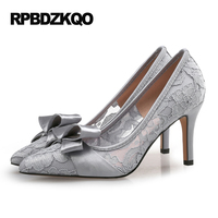 Scarpin High Heels Gray Shoes Pointed Toe Pumps Women Japanese Plus Size 8cm 3 Inch Embroidery